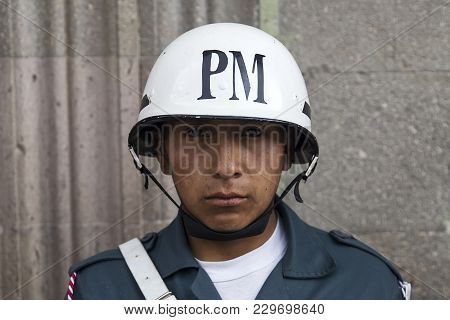 La Paz, Bolivia - January 12, 2018: Unidentified Soldier At Mausoleum Of Marshal Andres De Santa Cru