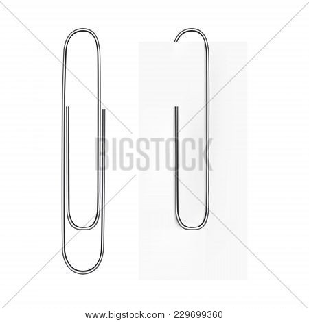 Vector Realistic Image Of A Paper Clip. The Paper Clip Is Silvery. Clip On A Sheet Of Paper. Vector