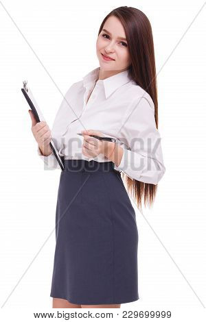 Beautiful Secretary Holding Clipboard And Writing On It. Isolated On White Background. Copy Space.