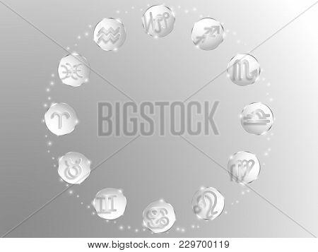 Zodiac Sign . Astrological Symbol. Zodiac Circle On A White  Background. Stars. Circle Of Life.