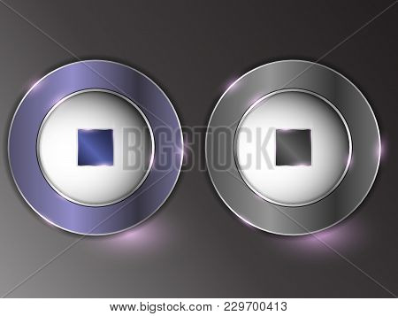 3d Silver Button On Gray Background.set Of Buttons. The Button Is On And Off.
