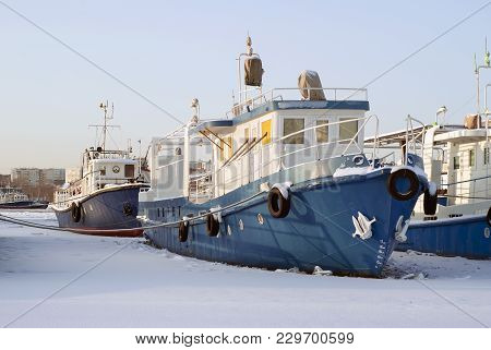 Ruver Tugboats During Wintering In The Backwaters