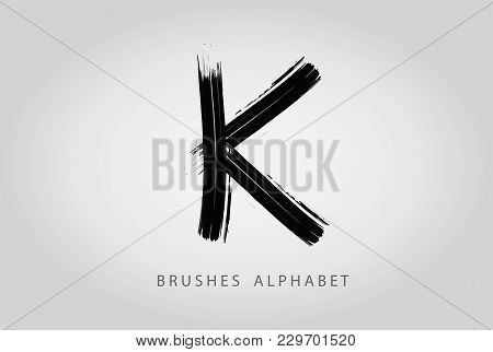Letter K Brush Logo Design.concept Isolated On White
