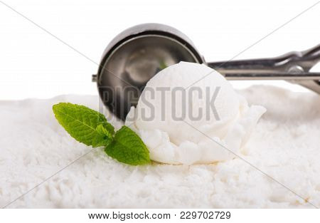White Ice Cream Scoop, Scooped Out Of A Container Of Vanilla Ice Cream With A Utensil, Isolated On W