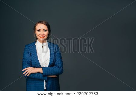 Portrait Confident Business Woman . Confident Young Stylish Woman In Business Clothes Looking At Cam