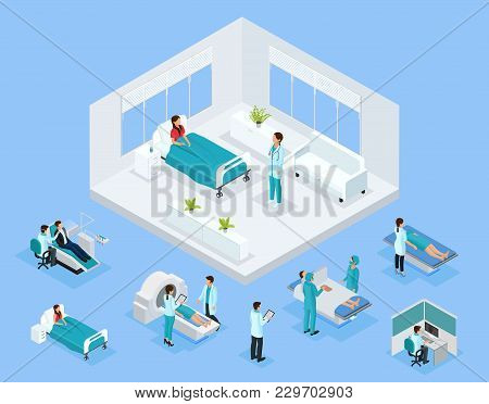 Isometric Healthcare Concept With Doctors Patient Examination Rehabilitation Dentist Surgery Medical