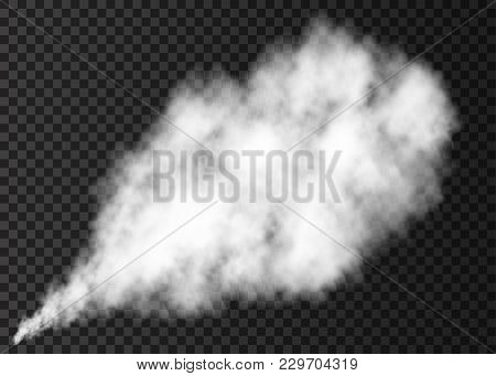 White Realistic  Smoke Puff  Isolated On Transparent Background.  Steam Explosion Special Effect. Ve