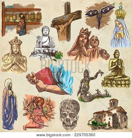 An Hand Drawn Collection Of Spirit Life Around The World. Religious. Religion. Set Of Some Sculpture