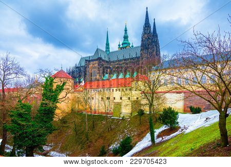 The Historic St. Vitus Cathedral In Prague, Located Within The Walls Of Prague Castle, Czech Rebubli