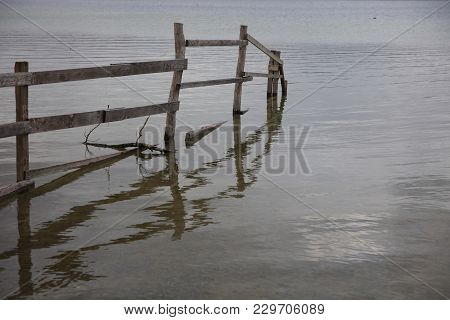 Fence At Lake Constance Near Radolfzell. Germany
