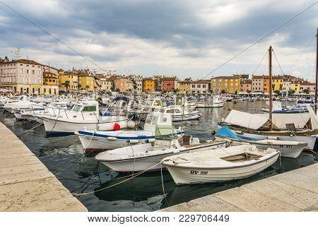 Rovinj, Croatia, September 27, 2017: View Of The Marina In The  Tuning Old Town Of Rovinj.