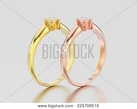 3d Illustration Two Rose And Yellow Gold Engagement Solitaire Double Prong Basket Diamond Rings On A