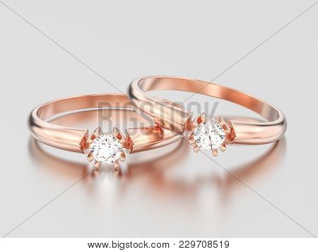 3d Illustration Two Rose Gold Engagement Solitaire Double Prong Basket Diamond Rings On A Gray Backg
