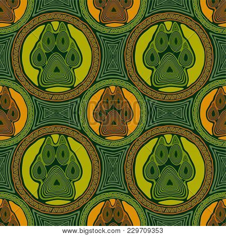 Seamless Pattern With Paw And Claws Made In A Decorative Manner And Boho Style In Yellow, Green, Ora