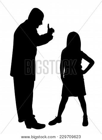 Conflict Between Father And Defiant Child. Isolated White Background. Eps File Available.
