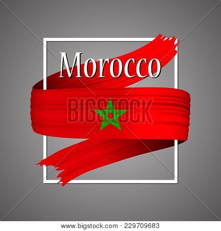 Morocco Flag. Official National Colors. Moroccan 3d Realistic Ribbon. Isolated Waving Vector Glory F