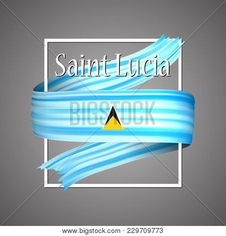 Saint Lucia Flag. Official National Colors. Saint Lucian 3d Realistic Ribbon. Isolated Waving Vector