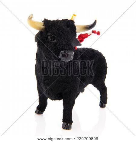 Spanish souvenir black bull from bull fighting isolated over white background