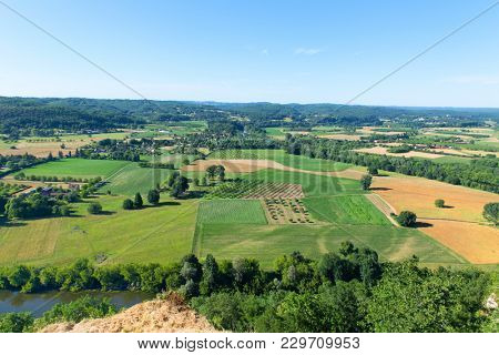 Viewpoint of landscape the Dordogne in the French Nouvelle Aquitaine