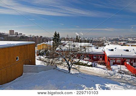 Winter Sunny Day In Snowy Oslo, Norway.