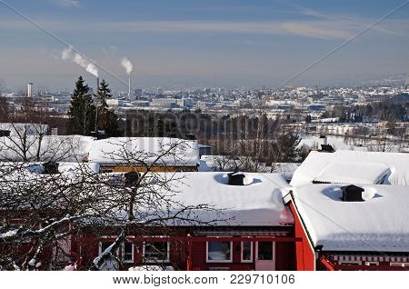 Old Houses On Lindeberg In Snowy Oslo.