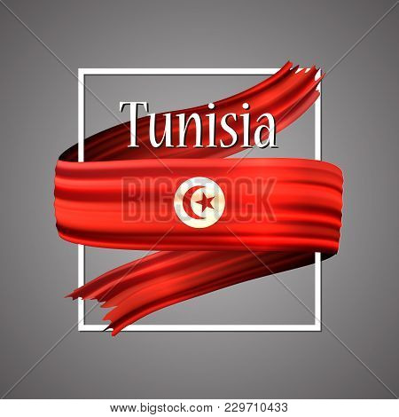 Tunisia Flag. Official National Colors. Tunisian 3d Realistic Ribbon. Isolated Waving Vector Glory F