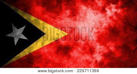 Old East Timor Grunge Background Flag, Vintage Flag