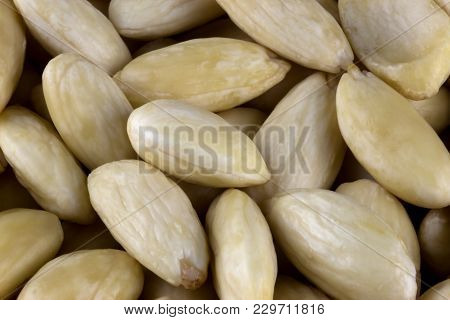 Close Up Of A Pile Of Blanched Almonds