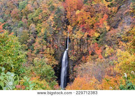 Tsumijikura Taki waterfall in autumn Fall season at Fukushima Japan