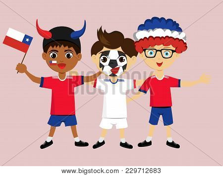 Fan Of Chile National Football, Hockey, Basketball Team, Sports. Boy With Chile Flag In The Colors O