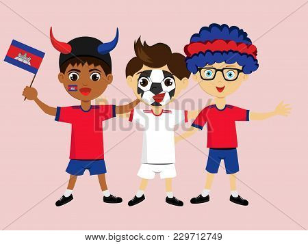 Fan Of Cambodia National Football, Hockey, Basketball Team, Sport. Boy With Cambodia Flag In The Col