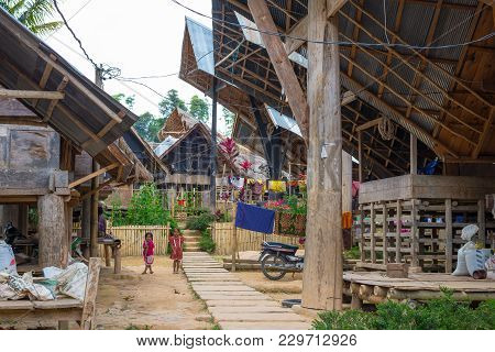 Ballapeu, Indonesia - August 18, 2014: Ballapeu Traditional Village In Tana Toraja, South Sulawesi,