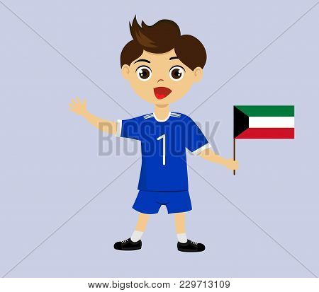 Fan Of Kuwait National Football, Hockey, Basketball Team, Sports. Boy With Kuwait Flag In The Colors