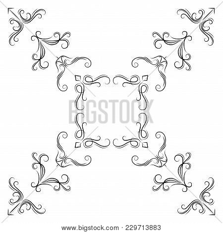 Abstract Corner Pattern. Set Of Vintage Calligraphic Linear Corners For Retro Frames. Vector Illustr