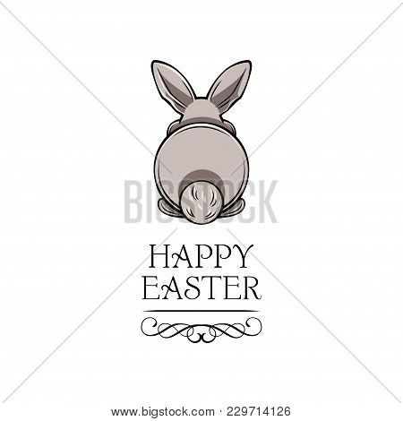 Text Happy Easter And White Bunny Bottom. Vector Illustration Isolated On White Background.