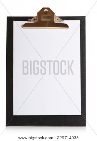 Close-up Of Clipboard Isolated Over White Background