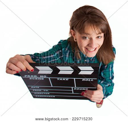 Young Happy Woman Holding Clapper Board Over White Background
