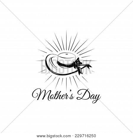 Mother S Day Wide-brimmed Hat In Beams Greeting Card. Vector Illustration. Design Element.