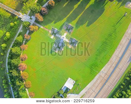 Aerial View Green Park In Downtown Houston, Texas, Usa