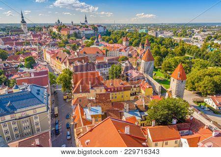 Tallinn, Estonia historic skyline towards Toompea Hill.