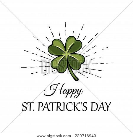 Three Leaf Green Clover Leaf In Beams, An Attribute To St. Patrick S Day. Vector Illustration Isolat