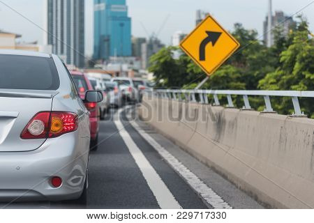 Traffic Jam  With Row Of Cars
