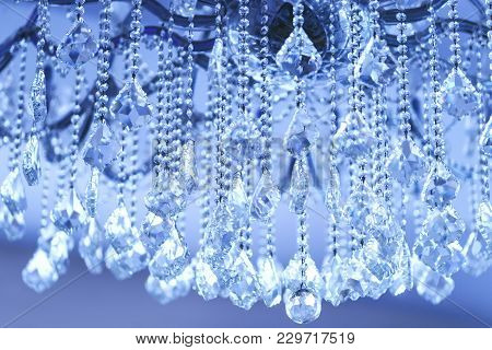 Luxury Crystal Chandelier. Close Up On The Crystal Of A Contemporary Crystal Decoration. Beautiful L