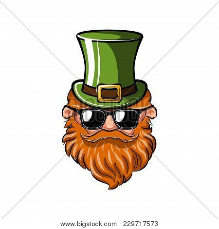 Saint Patrick S Day Greeting Card. Leprechaun With Green Hat, Red Mustache And Beard And Sunglasses.