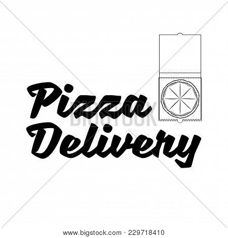 Pizza In Box. Pizza Delivery Logo. Italian Food. Vector Illustration Isolated On White Background.