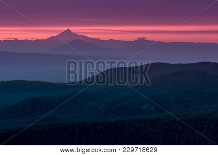 Vast Forest At Sunset Below Mount Hood In Central Oregon