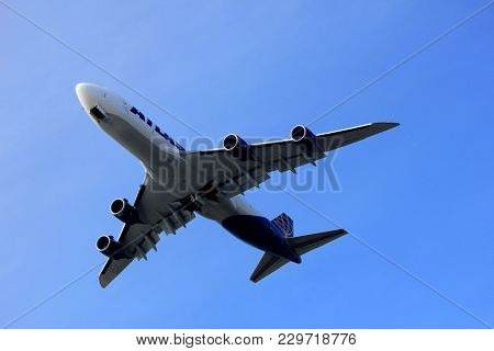 Amsterdam The Netherlands - March 4th, 2018: N854gt Atlas Air Boeing 747-8f Takeoff From Aalsmeerbaa