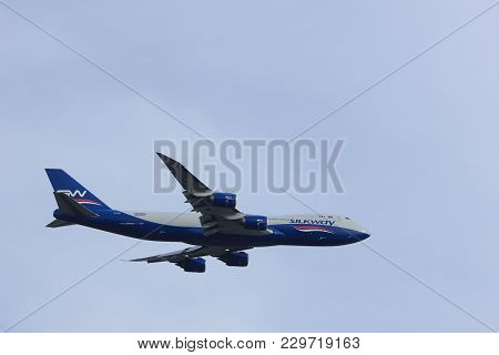 Amsterdam The Netherlands - March 4th, 2018: Vq-bwy Silk Way West Airlines Boeing 747-8f Takeoff Fro