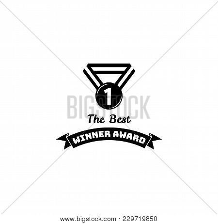 Medal Icon. First Place. Winner Award. Ribbons. Vector Illustration. Trophy Icon. Victory Symbol. Re