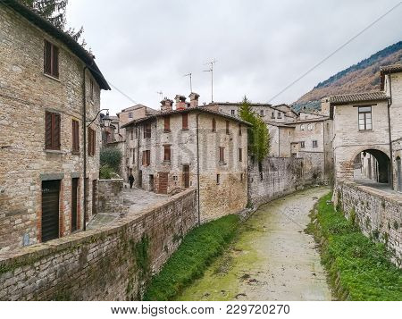 Gubbio Old Town View. Italian Medieval City